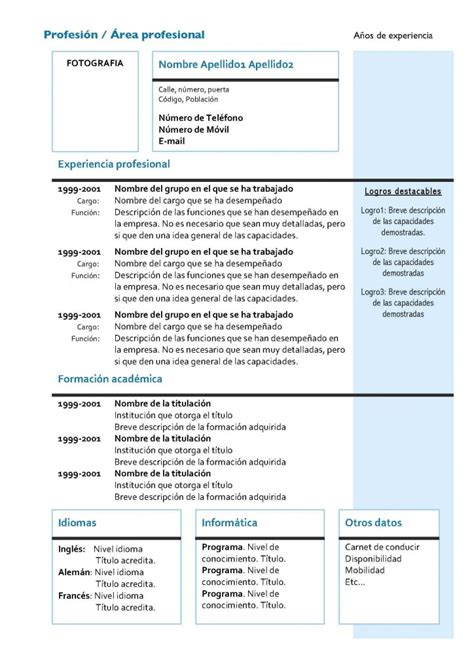 Modelo Curriculum Europeo Descargar Modelo De Curriculum Vitae Europeo