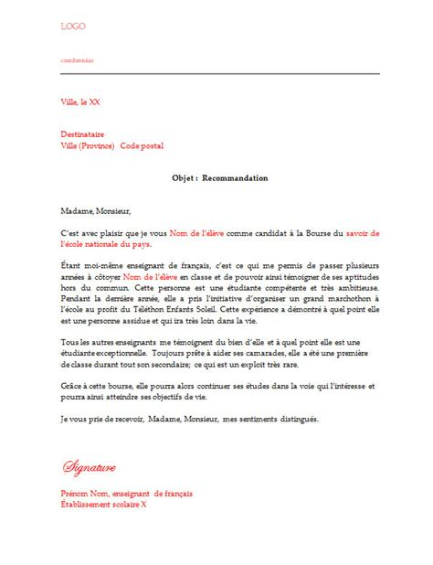 Lettre Type Pour Une Demande De Visa Lettre De Recommandation Pour Une Bourse 187 Lettre De Recommandation
