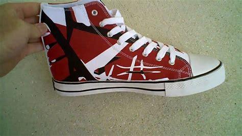 eddie van halen red high tops eddie van halen evh red black white high top shoes youtube