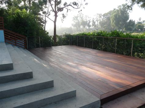 concrete patio and ipe deck contemporary deck