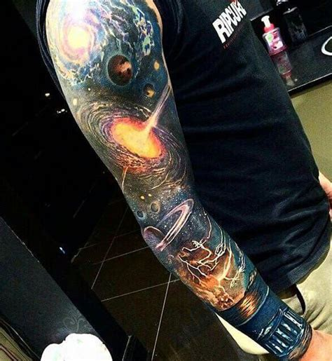 black and grey universe tattoo 40 space tattoo ideas for astronomy lovers dzine mag