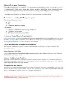 Templates For Resumes On Word Resume Templates Microsoft Word