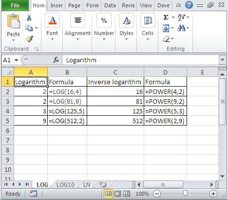 calculator log2 inverse of log base 10 excel