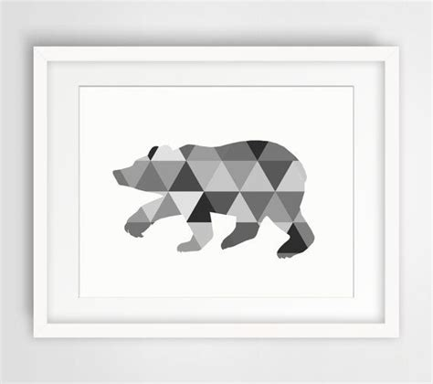 printable wall art black and white bear art bear print tribal triangle wall art black