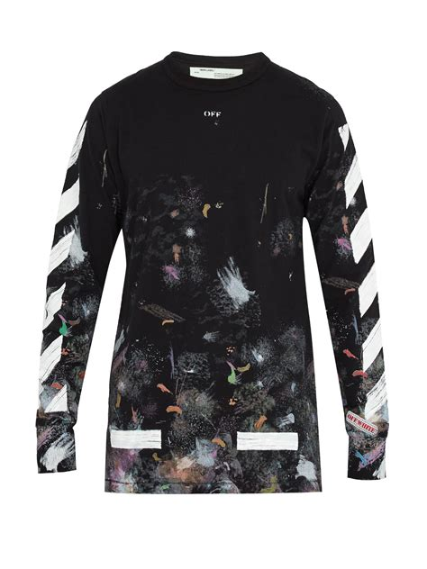 White Shirt Galaxy by Lyst White C O Virgil Abloh Galaxy Print Sleeved Cotton T Shirt In Black For