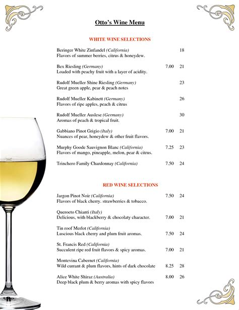 7 wine menu template procedure template sle