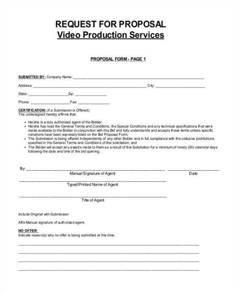 7 video proposal form sles free sle exle
