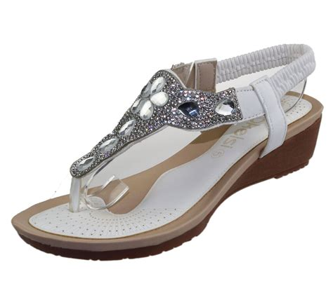 Wedge Heel Wedding Sandals womens wedge heel sandals diamante toe post summer