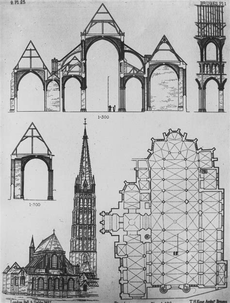 notre dame section a a plans drawings section church of notre dame