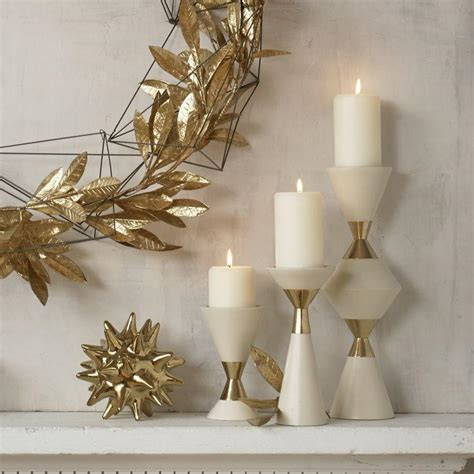 gold and cream pillar candles s 3 hourglass pillar candleholders w gold grats decor interior design build inc
