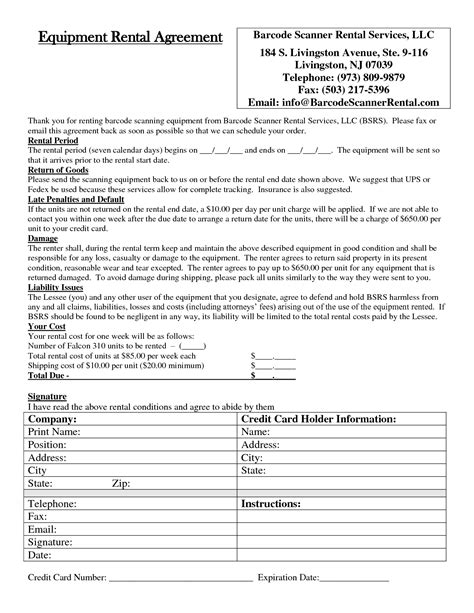 equipment lease agreement template trucking invoice template free hardhost info