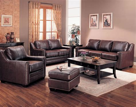 Brown Bonded Leather Contemporary Living Room Sofa W Options Living Room With Brown Leather Sofa