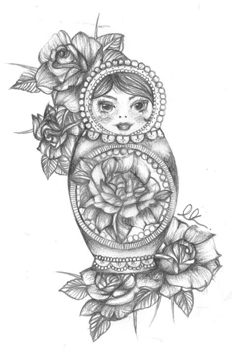 russian doll tattoo design image result for russian doll the flowers