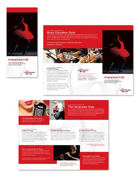 brochure templates education free arts education center tri fold brochure template