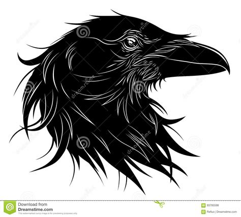 black raven head stock vector illustration of emblem
