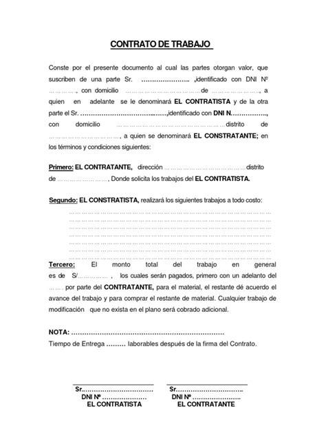 contrato general de empleo descargue plantillas de formato de contrato de trabajo a todo costo para llenar