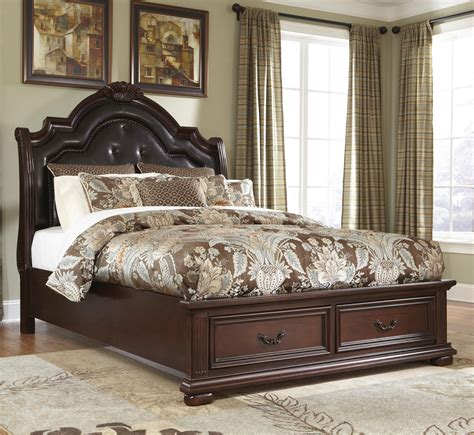 ashley millenium bedroom caprivi king storage bed with tufted headboard by ashley