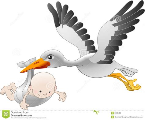 clipart nascita cicogna che trasporta un bambino appena nato illustrazione