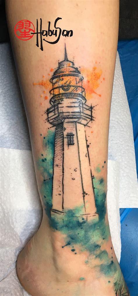 henna tattoo wien mariahilferstraße ein leuchtturm in sketchy optik mit watercolour