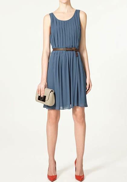 blue belt pleated neck chiffon dress midi dresses