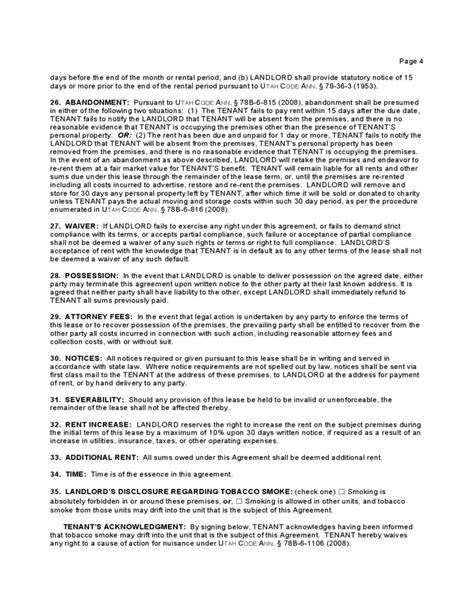 Residential Rental Application Utah Utah Residential Lease Agreement Free