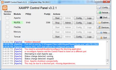 xp configure apache port 443 teknodikshən