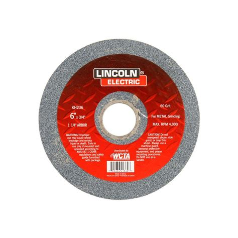bench grinding wheel lincoln electric 6 in x 3 4 in 36 grit bench grinding