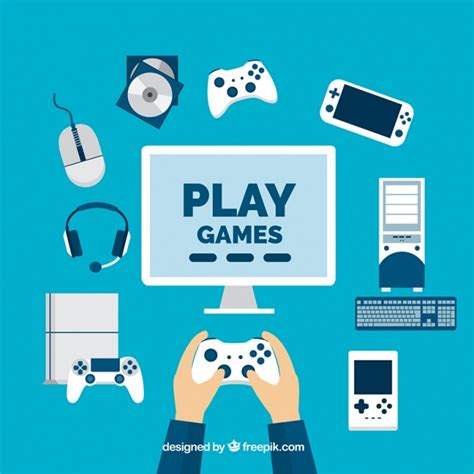 game design vector player with video game elements in flat design vector