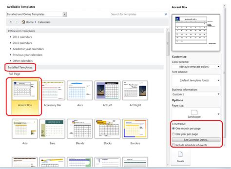 personalize a calendar for new year in publisher office