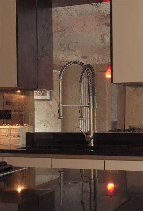 beautiful kitchen splash   toughened antiqued mirror