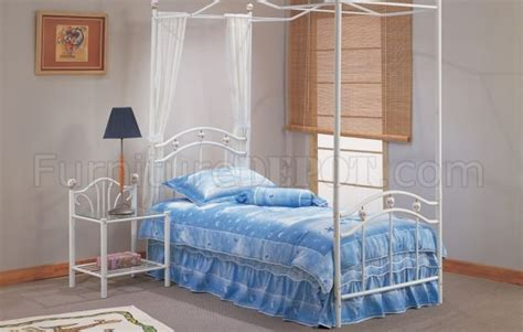 white twin canopy bed white metal kids canopy twin bed w optional nightstand