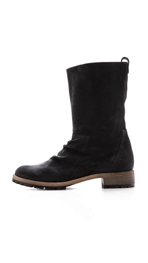 lug boots coclico odo lug sole suede boots black in black lyst