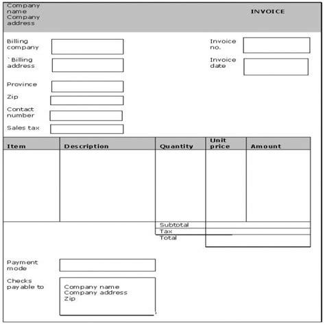 Generic Invoice Task List Templates Generic Invoice Template