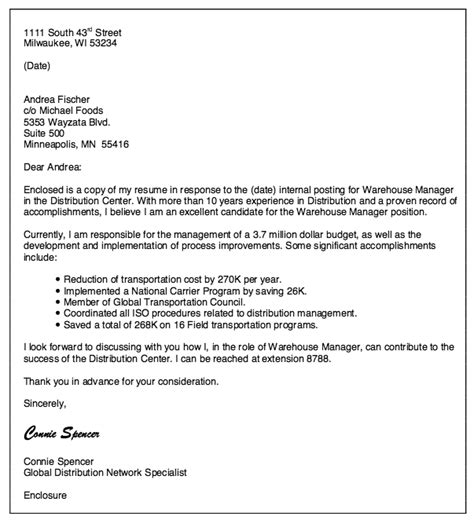 cover letter exles warehouse warehouse manager cover letter http resumesdesign