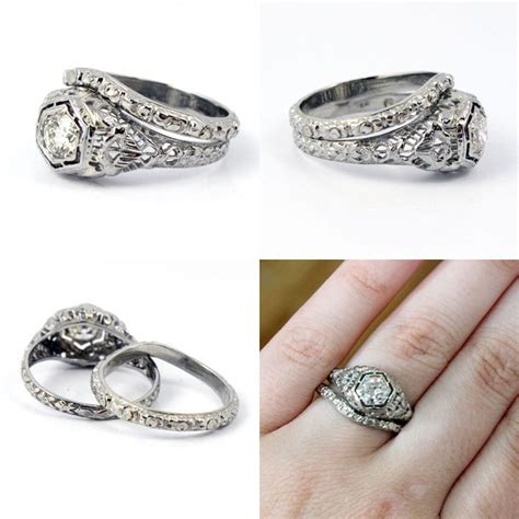vintage deco wedding rings 18k deco 1920s filigree european cut antique engagement ring band wedding set the