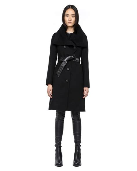 Leigh Dolce Belt by Mackage Leigh Sp2 Black Light Wool Coat With Leather Belt