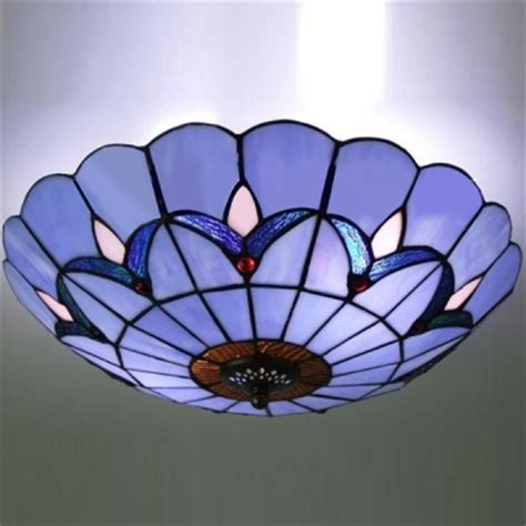 Fashion Style Flush Mount Ceiling Light Blue Tiffany Stained Glass Flush Mount Ceiling Light