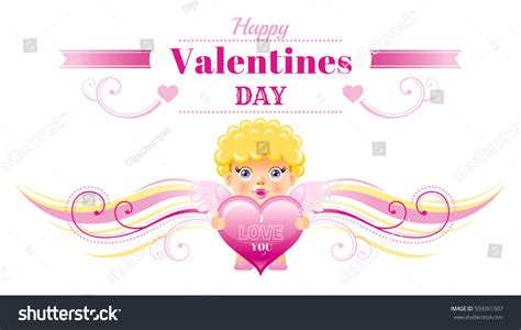 happy valentines day in characters happy valentines day border cupid character stock vector