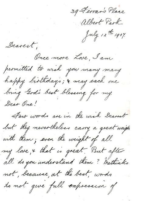 Letter For Birthday A Message Of And Birthday Wishes 1907 A Letter From Fleming To Elfrida Begg