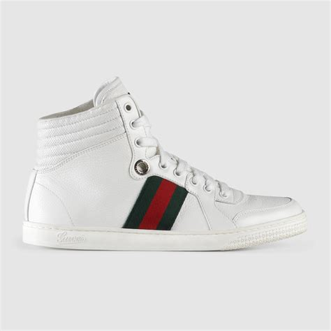 gucci white sneakers gucci high top leather sneaker in white lyst