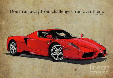 Ferrari Quote by Ferrari Red Classic Car And Enzo Ferrari Quote Vintage