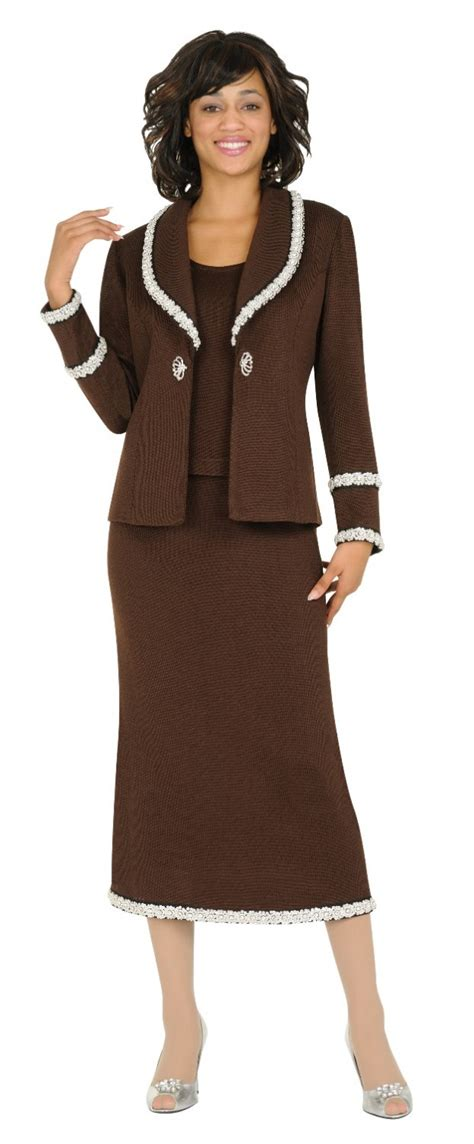 church suits brown td94003 knitted platter collar