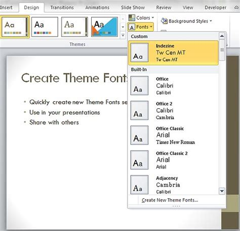 how to create themes for powerpoint 2007 create custom theme fonts in powerpoint 2007 and 2010