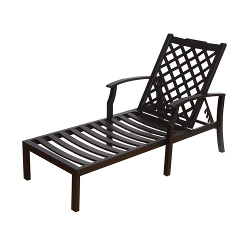 Patio Lounge Chair Shop Allen Roth Carrinbridge Black Aluminum Patio Chaise Lounge Chair At Lowes