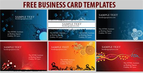 free buisness card templates free business card templates 6 colorful designs