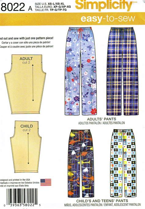 sewing patterns young adults simplicity 8022 child s teens and adults pajama pants