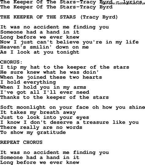 Printable Lyrics To Keeper Of The Stars By Tracy Byrd | love song lyrics for the keeper of the stars tracy byrd