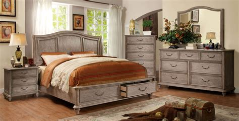 Rustic Bedroom Furniture | 4 piece belgrade i platform rustic storage bedroom set cm7613