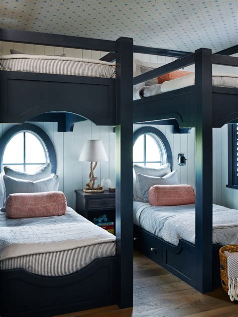 navy bunk beds shingle style beach house with classic coastal interiors