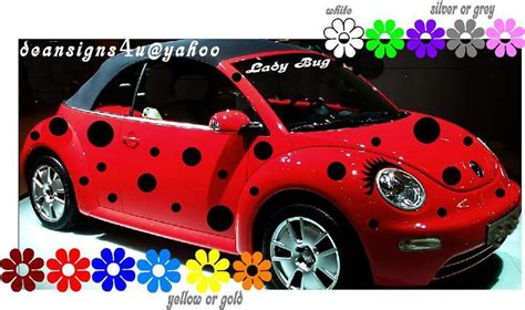 punch buggy car with eyelashes car spots black dots 44 set ladybug volkswagen bug